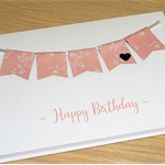 Female Birthday card - pink floral bunting