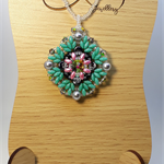 Rainbow Rivoli Beaded Pendant Necklace