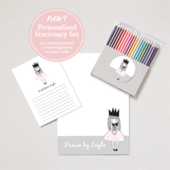 Personalised Stationery Set - Includes Drawing sheets, Note cards and Pencils.