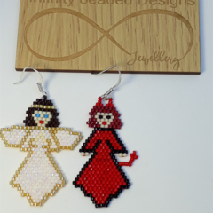 Devil and Angel Beaded Earrings