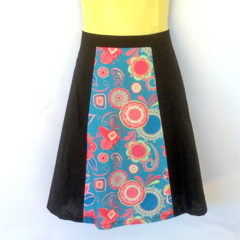 Black and Teal Blue Ladies A Line Skirt - ladies sizes avail - floral, paisley
