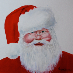 "Santa Claus, Print, 8' x 8"" Watercolour, Santa print, Santa painting"