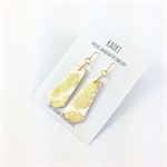 Handcrafted gold leaf white polymer clay earrings gold plated earring  hooks