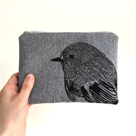 Screen printed robin pouch / clutch / purse / wallet