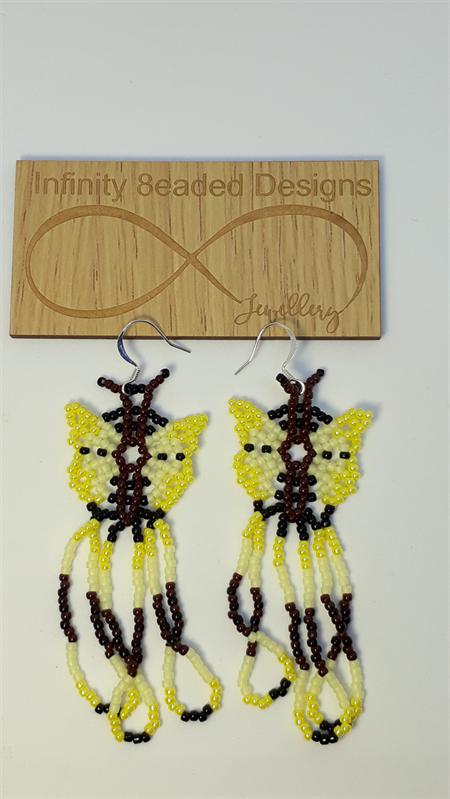Yellow Butterfly Beaded Earrings