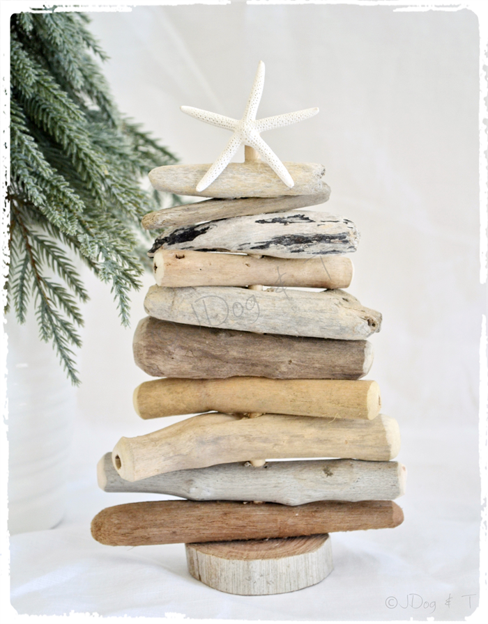 Driftwood wooden wood christmas tree rustic beach boho for Hanging driftwood christmas tree