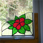 Red Flower and Green Leaves Stained Glass RIGHT Window Corner, Accent