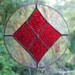 Round, Red, Iridised Clear, Stained Glass Suncatcher
