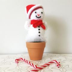 Crochet Snowman Cactus in terra-cotta pot