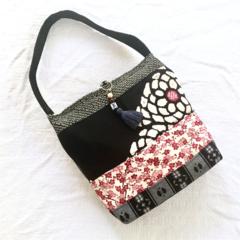 Handcrafted kimono fabric handbag-  with beaded tassel- black, pink and blue