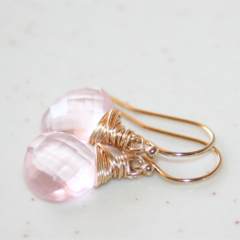 Little Pink Quartz Dangle Earrings, 14K Gold Filled, Wire Wrapped