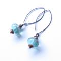 Antique aqua green glass dangle earrings