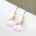 Little Pink Quartz Dangle Earrings, 14K Gold Filled, Wire Wrapped