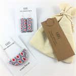 Handcrafted pendant and earrings gift set- pale blue, red and white mosaic