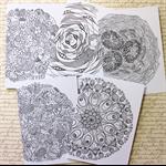 5 Colour-Me-In cards. MANDALAS.