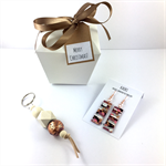 Christmas gift box with handcrafted polymer clay earrings and keyring / bagcharm