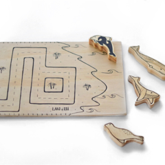 Wooden Playboard Hand Illustrated Wood Playmat Road Map Seaside