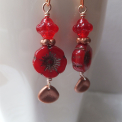 Red Czech Hawaiian Flower and Fancy Bicone Bead with Copper Czech Petal Glass Be
