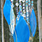 Stained Glass Wind Chime, Sea Blue and clear Iridised glass and glass beads