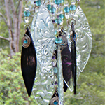 Glass Wind Chimes, glass in Aubergine and Clear glass beads