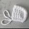 Vintage White Hand Crocheted Newborn Baby Bonnet Beanie Hat Photo Prop