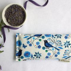 Eye Pillow, Lavender and Flax Seed Eye Pillow - Moody Blues Indigo Bird