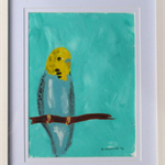 Blue Budgie - Original Acrylic Painting (Framed)