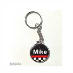 Car racing theme personalised keyring.