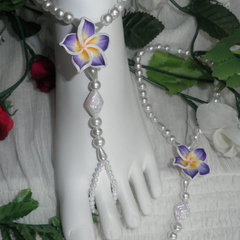 Beach Wedding Frangipini White Pearl Beaded Barefoot Sandals ~ Foot Jewellery