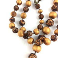 Handcrafted polymer clay long necklace- golden roses