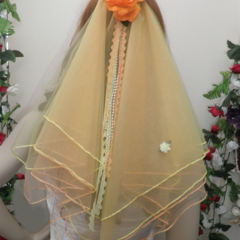 Sunset Colours of Orange /Yellow Fairytale Bridal Veil with Pearl and Lace Tails