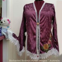 Dusty Pink Mauve Sequin Velvet Bohemian Cardi - Plus Size 20 - 22