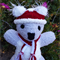 Koala Baby soft toy, Christmas Santa hat & scarf or plain. Hand knitted softie.