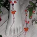 Orange Kiss Butterfly Belly Dancing Gypsy Barefoot Sandals Set ~ Foot Jewellery