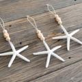 3 Starfish Seashell Wood Bead Christmas Decorations Boho Hamptons Ecofriendly