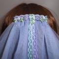 Mauve & Aqua Green Fairytale Bridal Veil ~ Beach Wedding Veil with Little Shells
