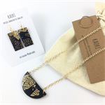 Handcrafted pendant and earrings gift set- black and gold