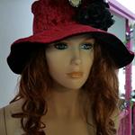 Burgundy Velvet Hippie Gypsy Bohemian Hat