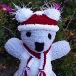 Koala Baby soft toy, Christmas Santa hat & scarf. Hand knitted softie.