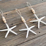 3 Starfish Seashell Wood Bead Christmas Decorations Boho Hamptons Ecofriendly