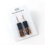 Handcrafted stone effect polymer clay earrings rose gold plated hooks