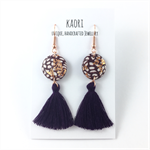 Handcrafted purple polymer clay earrings with tassels & rose gold plated hooks