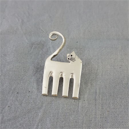 Cat brooch made from vintage silver plated fork