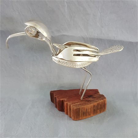 Sculpture made from Vintage silver plated cutlery pieces.