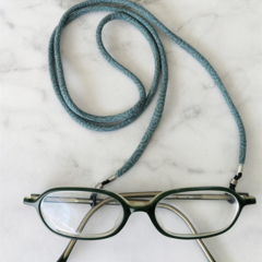 Eye Glasses Holder - SPIRAL / LIGHTBLUE / Japanese kimono cord