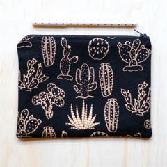 Black & Gold cactus / succulent Zipped Pouch or Pencil case