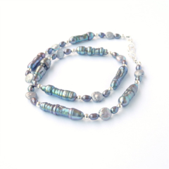 Grey Freshwater Baroque Coin and Seed Pearl Necklace. Sterling Silver and Pearl