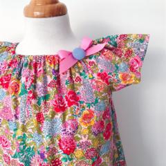 Size 1 - Smock - Hydrangeas - Retro Floral - Pink - Bright  - Peasant Dress