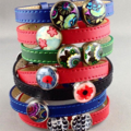 Women's leather bracelet, bronze, black, red, poppy, flower, adjustable