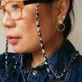 Eye Glasses Holder - SAKURA - BLACK×WHITE / KIMONO / Japanese chirimen cord /